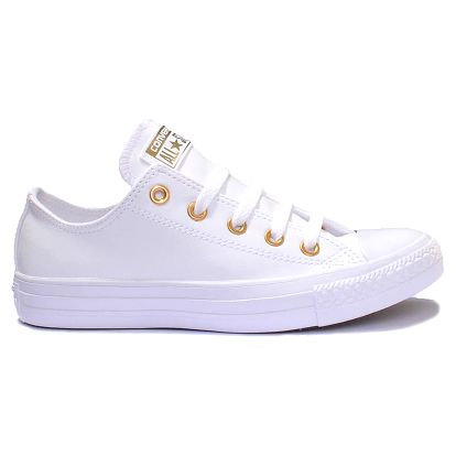 Converse bílé koženkové boty Chuck Taylor All Star se zlatými cvočky - 37