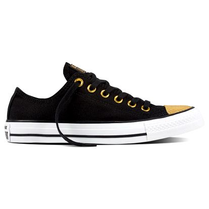 Converse černé dámské nízké tenisky CTAS se zlatou špičkou - 38