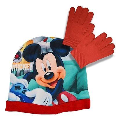 Souprava čepice a rukavice Mickey Mouse - červená