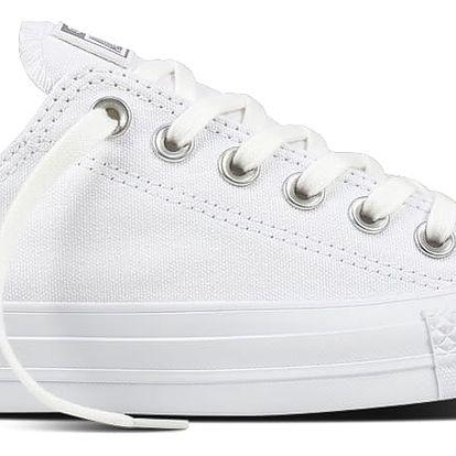 Converse nízké bílé tenisky se stříbrnou špičkou CTAS OX White/Silver - 41