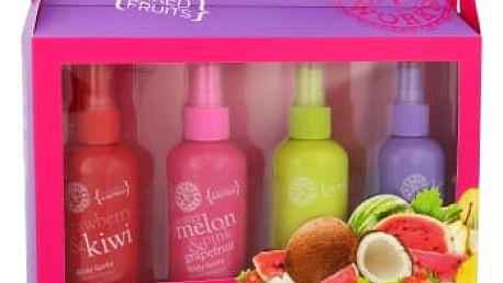 Grace Cole Fruit Works dárková kazeta pro ženy tělový sprej Strawberry & Kiwi 100 ml + Watermelon & Pink Grapefruit 100 ml + Coconut & Lime 100 ml + Passion Fruit & Guava 100 ml