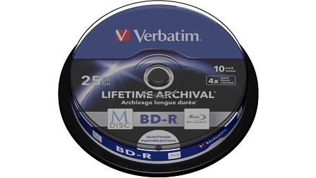 Verbatim BD-R, M-Disc, 4x, 25GB, printable, 10 ks, spindle - 43825