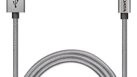 Kabel A-Data Sync & Charge Lightning, 1m, MFi, hliníkový, opletený (AMFIAL-100CMK-CTI) titanium