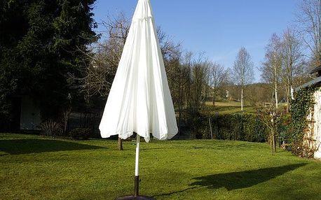 Garthen 907 Slunečník s klikou - bílý, 4 m