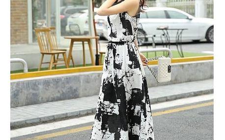 Letní šaty s dvoubarevným vzorem - černá, velikost č. 6