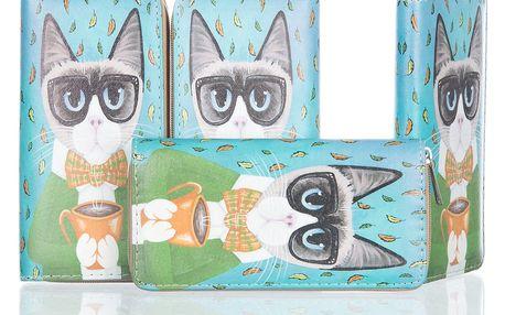Dámská peněženka s potiskem kočky
