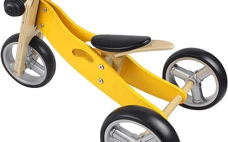 Yookidoo Dřevěné odrážedlo 2v1 mini žlutá