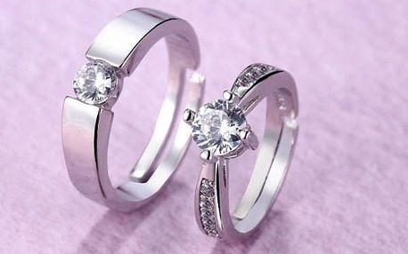 Zásnubní prsten ve stříbrné barvě - 2 ks
