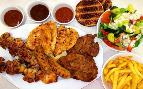 Grilované maso: steaky, klobása a špíz pro 4 osoby