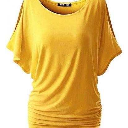 Dámské triko s otvory na ramenou - žlutá, velikost 3 - dodání do 2 dnů