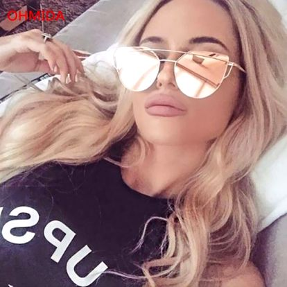 Originální dámské sluneční brýle v růžové barvě se zlatými obroučky - dodání do 2 dnů