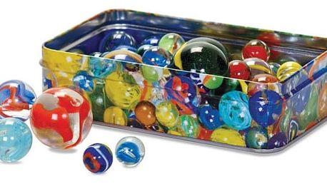 Hrací skleněné kuličky v cínovém boxu 60 ks