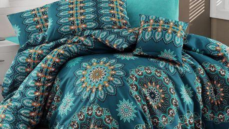 Povlečení s prostěradlem Hula Turquoise, 200 x 220 cm