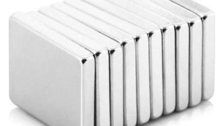 Neodymové magnety kvádr - 20 x 15 x 3 mm - 10 ks