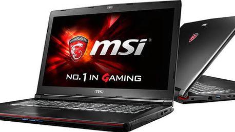 MSI GP72 7RE-279CZ Leopard Pro, černá + MSI batoh GE Gaming Dragon v ceně 899 Kč + dráček MSI + podložka pod myš MSI