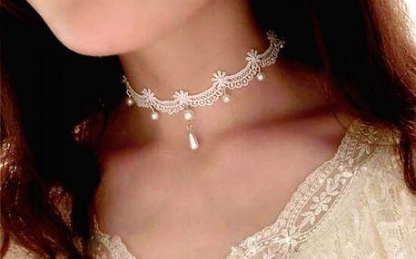 Něžný choker náhrdelník s perličkami