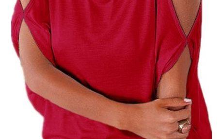 Dámské plus size tričko s otvory na ramenou - červená, velikost 2 - dodání do 2 dnů