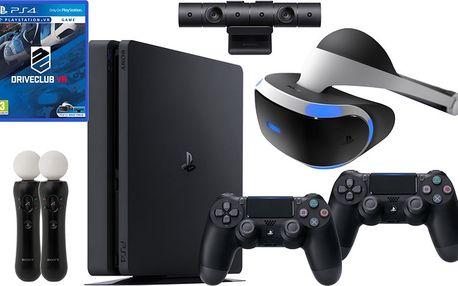 VR RACING SET - PS4 Slim, 1TB, 2x DS4 - PS719893653B2 + Virtuální brýle PlayStation VR + PlayStation 4 - Move Controller, twin pack, černý + PlayStation 4 - Kamera v2 + Driveclub VR (PS4 VR)