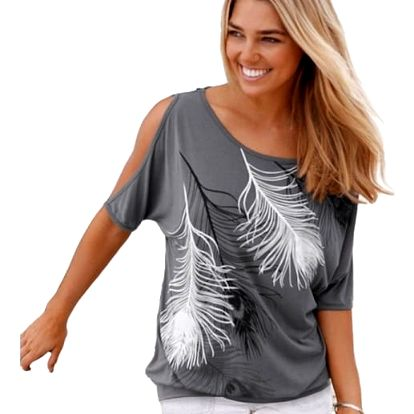 Dámské tričko s odhalenými rameny a peříčky