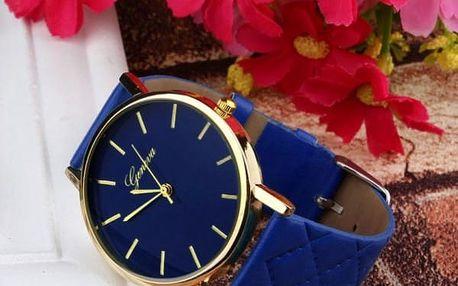 Dámské hodinky s prošívaným páskem - modrá barva - dodání do 2 dnů