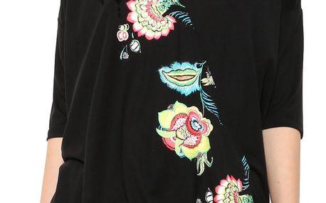 Desigual černé tričko Alicia s barevným potiskem - XL
