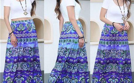 Dlouhá sukně s vysokým pasem - mix barev