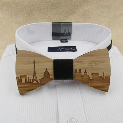 Pánský dřevěný motýlek s motivy měst - 10 variant