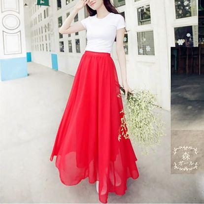 Jednobarevná dlouhá sukně - různé barvy