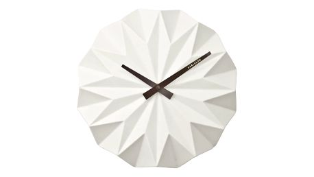 Bílé nástěnné hodiny Present Time Origami Ceramic - doprava zdarma!