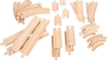 BIGJIGS RAIL Dřevěné koleje vláčkodráhy , set 24 dílů