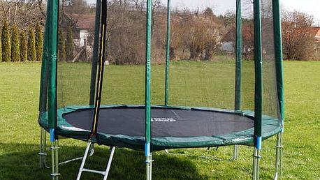 GoodJump 4UPVC zelená trampolína 366 cm s ochrannou sítí + žebřík + krycí plachta
