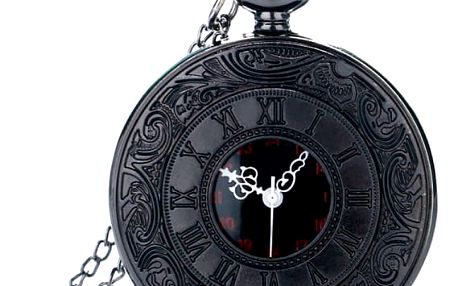 Kapesní hodinky v černém provedení - dodání do 2 dnů