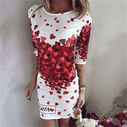 Lehké dámské šaty se srdci - velikost č. 4 - dodání do 2 dnů
