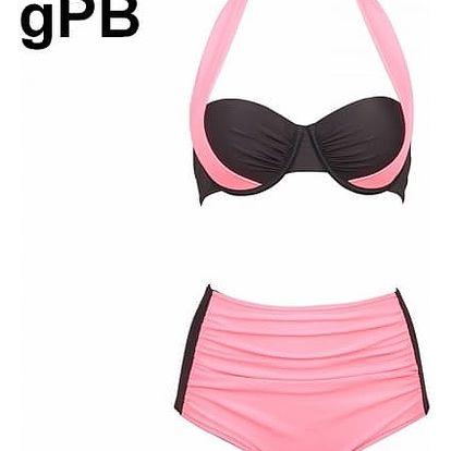 Dámské dvoudílné plavky s vysokým pasem a push-up efektem - varianta gPB, velikost 4 - dodání do 2 dnů