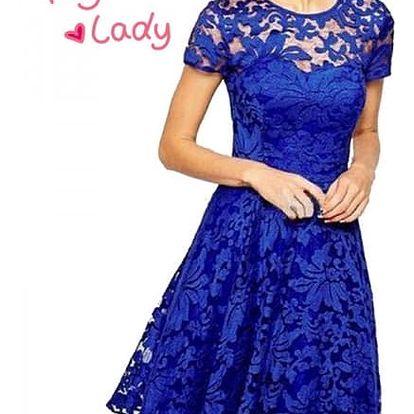 Dámské elegantní krajkované módní šaty - modrá, vel. 3 - dodání do 2 dnů