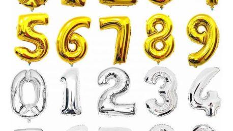 Fóliové balonky ve tvaru číslic - zlatá barva 0