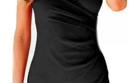 Dámské překládané šaty v černé barvě - dodání do 2 dnů