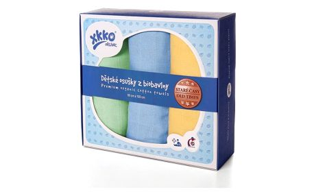 KIKKO Dětské osušky/pleny z biobavlny Staré časy 90x100 (3 ks) – pastels pro kluky