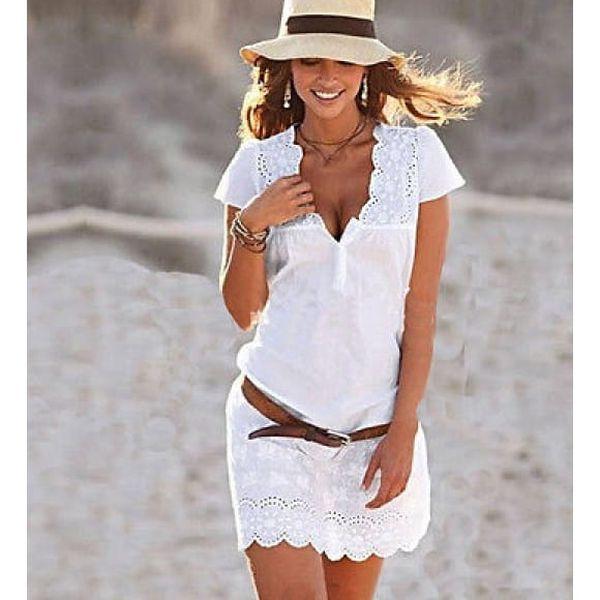 Mini bílé šatičky s krajkou a hlubokým výstřihem - velikost č. 4 - dodání do 2 dnů