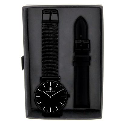 Set černých pánských hodinek s řemínky Black Oak Steel - doprava zdarma!