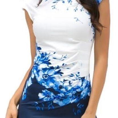 Elegantní dámské šaty s květinami - modrá, vel. 5 - dodání do 2 dnů