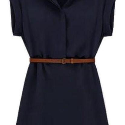 Letní košilové šaty - tmavě modrá, velikost 2 - dodání do 2 dnů