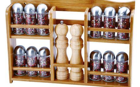 Sada 12 kořenek a mlýnku na pepř a sůl v poličce Bergner