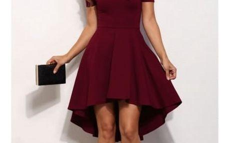 Společenské šaty s odhalenými rameny a asymetrickou sukní - červená, velikost č. 2