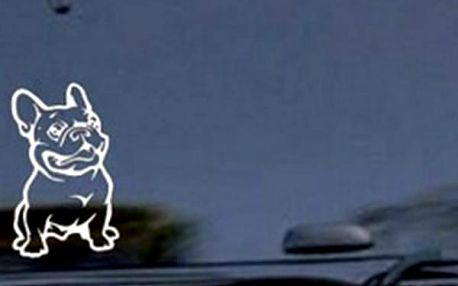 Samolepka na auto v bílé barvě - Francouzský buldoček - dodání do 2 dnů