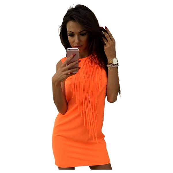Dámské minišaty v pastelových barvách - oranžová, vel. 3 - dodání do 2 dnů