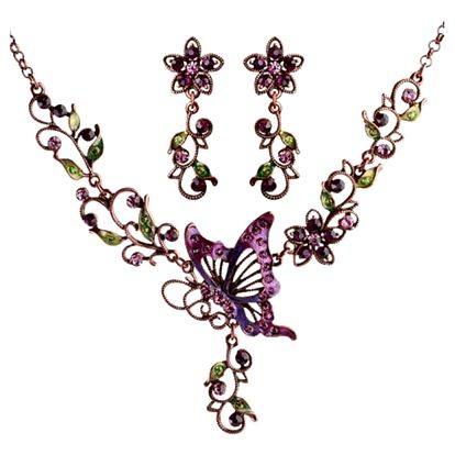 Pestrobarevná bižuterní sada s motýlkem