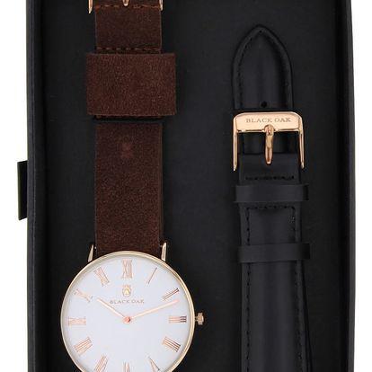 Set tmavě hnědých pánských hodinek s řemínky Black Oak Elegant - doprava zdarma!