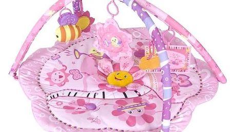 Hrací deka s hrazdou Sun Baby Růžová květinka růžová