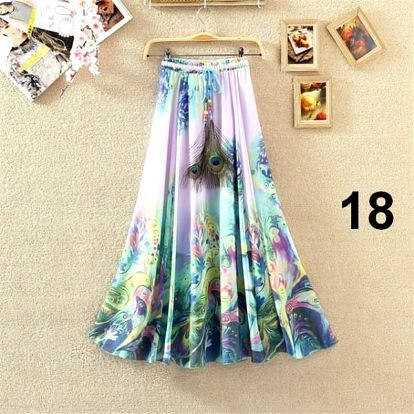Lehoučká dlouhá sukně na jaro i léto - varianta 18